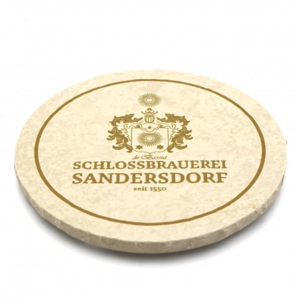 Schlossbrauerei Sandersdorf (de Bassus) Steinuntersetzer rund Einzeln