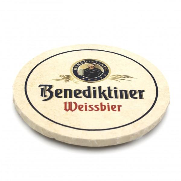 Benediktiner Weißbräu Steinuntersetzer rund einzeln