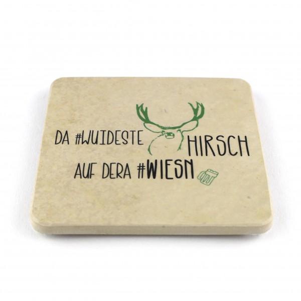 Da wuideste Hirsch Steinuntersetzer eckig