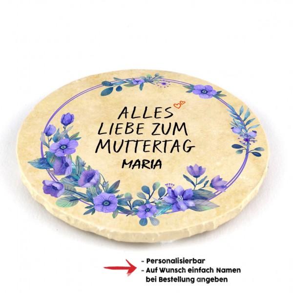 """Muttertagsfützl """"Alles Liebe"""" personalisierbar - rund"""