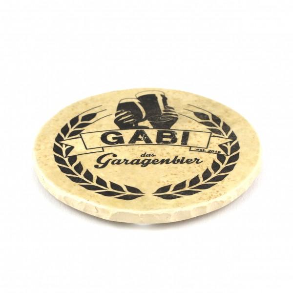 Gabi das Garagenbier - Natursteinuntersetzer